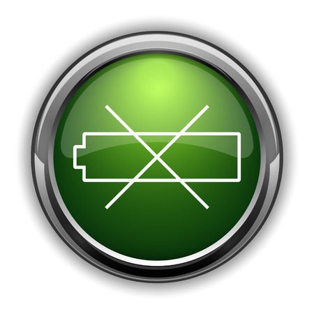 Empty battery icon. Empty battery website button on white background