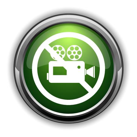 Forbidden video camera icon. Forbidden video camera website button on white background Stock Photo