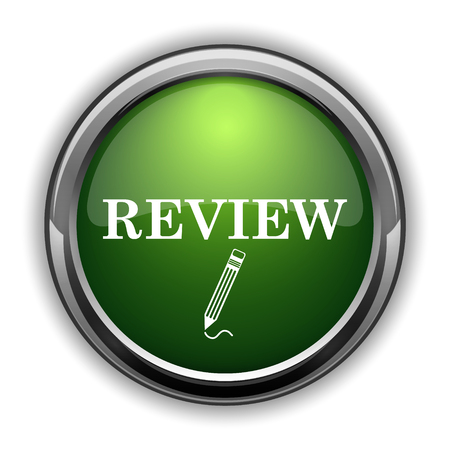 rate: Review icon. Review website button on white background