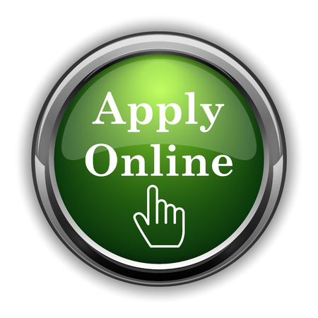 Apply online icon. Apply online website button on white background