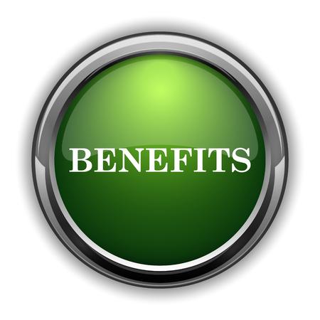advantages: Benefits icon. Benefits website button on white background