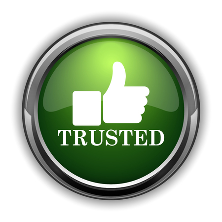 trusted: Trusted icon. Trusted website button on white background Stock Photo
