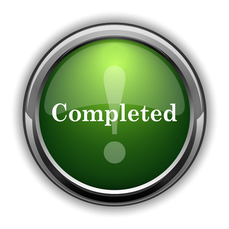 Completed icon. Completed website button on white background