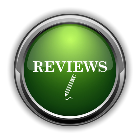 rate: Reviews icon. Reviews website button on white background