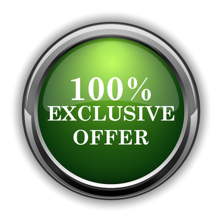100% exclusive offer icon. 100% exclusive offer website button on white background Stock Photo