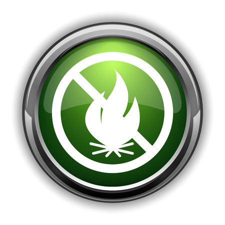 flammable warning: Fire forbidden icon. Fire forbidden website button on white background