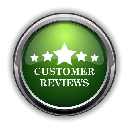 reviews: Customer reviews icon. Customer reviews website button on white background