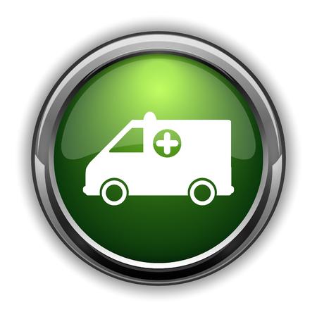Ambulance icon. Ambulance website button on white background