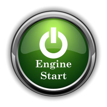 Engine start icon. Engine start website button on white background