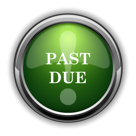 past due: Past due icon. Past due website button on white background Stock Photo
