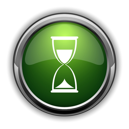 Hourglass icon. Hourglass website button on white background