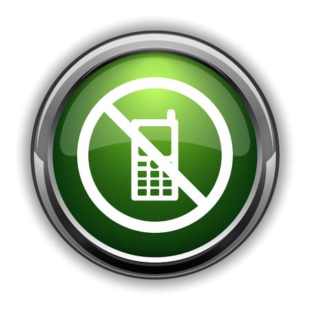 携帯電話は、アイコンを制限されています。携帯電話ウェブサイトのボタンを白い背景の上の制限 写真素材
