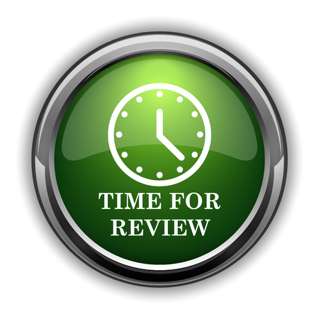 Time for review icon. Time for review website button on white background