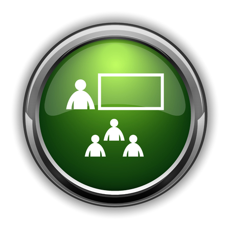 stage coach: Presenting icon. Presenting website button on white background Stock Photo