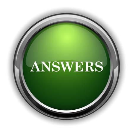 Answers icon. Answers website button on white background Фото со стока