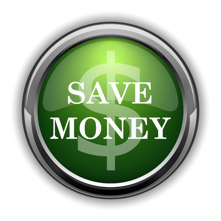 Save money icon. Save money website button on white background