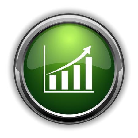 Chart icon. Chart website button on white background Фото со стока