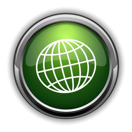 Globe icon. Globe website button on white background