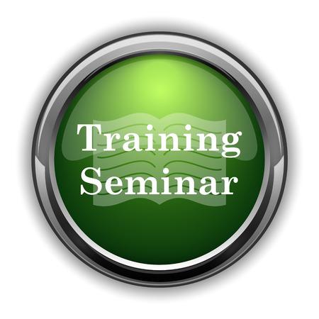 Training seminar icon. Training seminar website button on white background