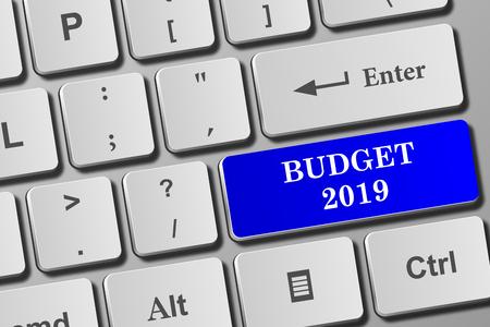 Budget 2019 button on modern keyboard. Close-up view on conceptual keyboard. Фото со стока