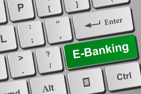 E-banking button on modern keyboard. Close-up view on conceptual keyboard. Фото со стока