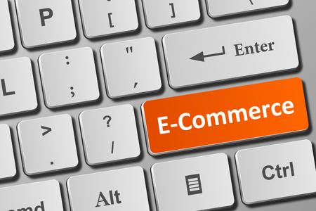 E-commerce button on modern keyboard. Close-up view on conceptual keyboard. Фото со стока