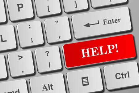 Help! button on modern keyboard. Close-up view on conceptual keyboard. Фото со стока