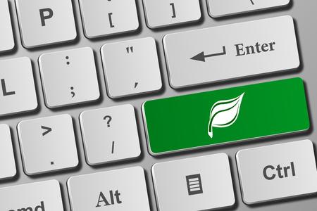 Leaf button on modern keyboard. Close-up view on conceptual keyboard. Фото со стока