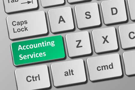 Close-up view on conceptual keyboard with accounting services button