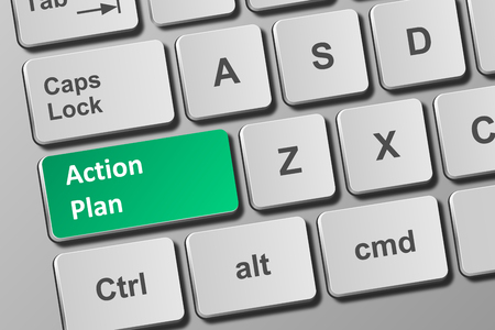 Close-up view on conceptual keyboard with action plan button