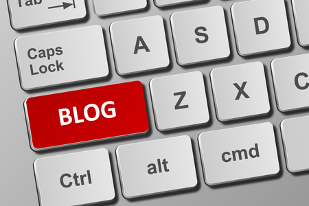 Close-up view on conceptual keyboard with blog button