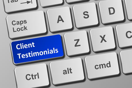 Close-up view on conceptual keyboard with client testimonials button
