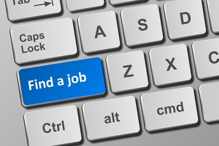 Close-up view on conceptual keyboard with find a job button