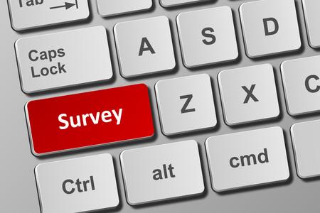 Close-up view on conceptual keyboard with survey button Фото со стока