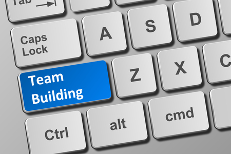 Close-up view on conceptual keyboard with team building button