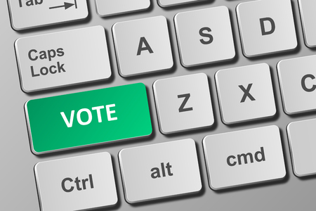 Close-up view on conceptual keyboard with vote button