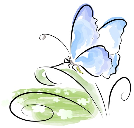 watercolor painting: Butterfly sitting on grass over flower field Illustration