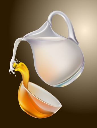 milk jugs: Milk and honey are mixed in splashing