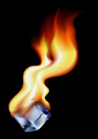 Kubus van ijs in brand