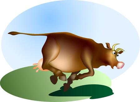 frighten: Running cow