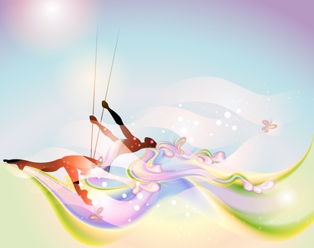 Young woman on the swing in springtime Vector