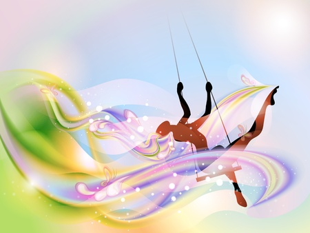 Young woman on the swing in springtime (EPS10, transparency)