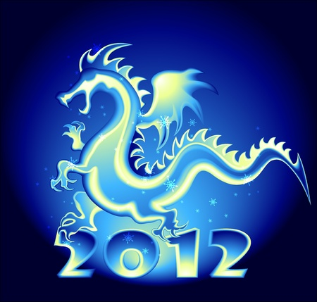 2012 year design with a Dragon Vector