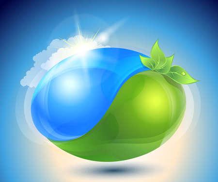 ochtend dauw: Eco-icoon met de natuur yin-yang