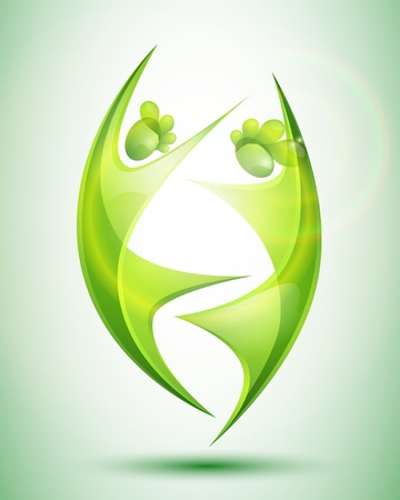 Eco-icon with green dancers Stock Vector - 12480343
