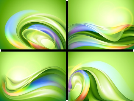 abstract curves: Abstract vector green background set