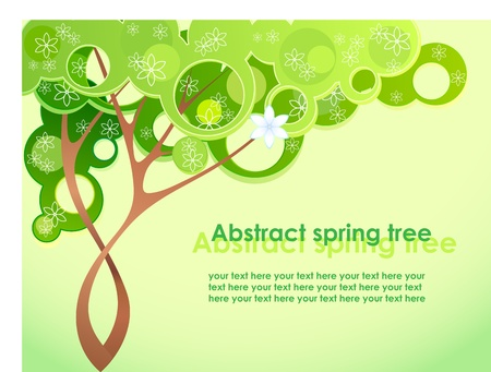 cartoon summer: Abstract spring tree with flowers