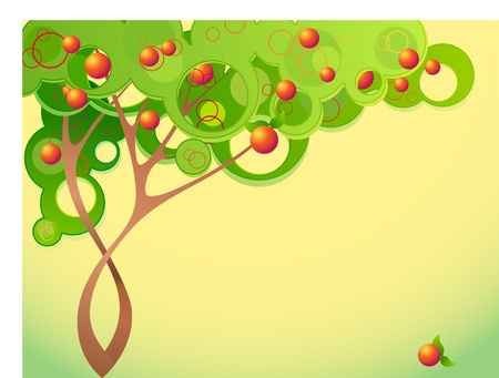 green apple isolated: Abstract summer tree with fruits Illustration