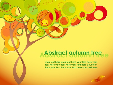 Abstract autumn tree with red leaves Vector