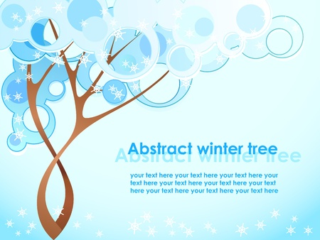 Abstract winter tree with snowflakes Vector